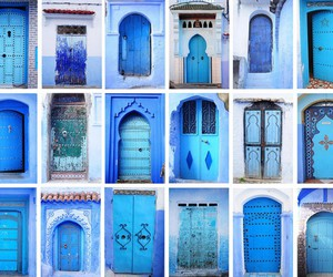 door, blue, and morocco image