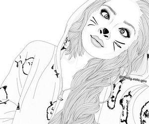 outline, cat, and drawing image