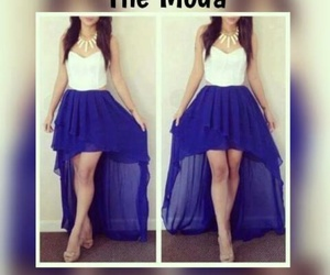 blue & white, clothes, and dress image