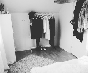 bedroom, black, and clothes image