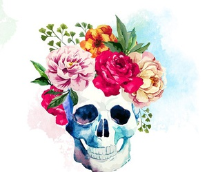 wallpaper, flowers, and skull image
