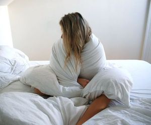 bed, white, and blonde image