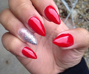 nails, red nails, and stile image