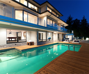 couple, house, and pool image