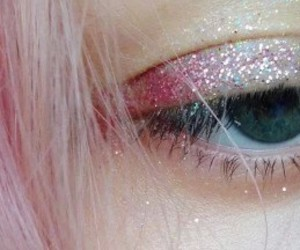 eyes, glitter, and pink image