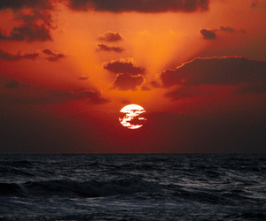 sea, sunset, and sun image