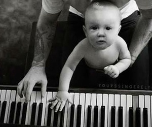 baby, piano, and tattoo image