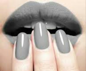 nails, lips, and grey image