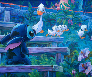 disney, stitch, and duck image