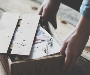 vintage, box, and hands image