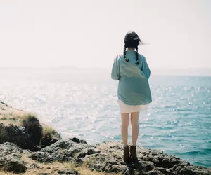 girl, sea, and vintage image