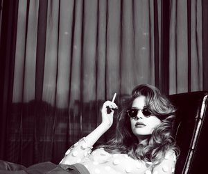 black and white, model, and cigarette image