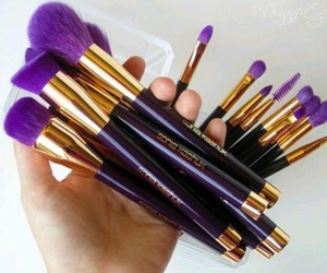 Brushes, make up, and purple image