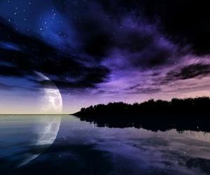 night, moon, and purple image