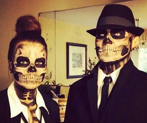 Halloween, couple, and makeup image