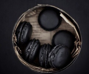 black, food, and macaroons image