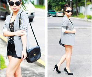 forever 21 shades, rockwell bazaar sheer top, and had it made blazer image