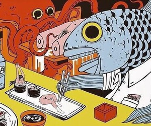 sushi, fish, and art image