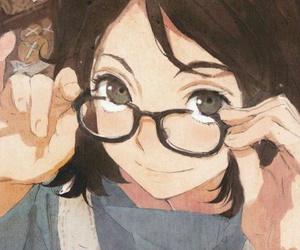 anime, glasses, and art image
