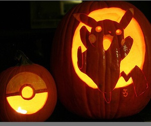 pokemon, pumpkin, and pikachu image