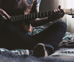 guitar, guy, and tattoo image