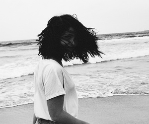 emily rudd, black and white, and beach image