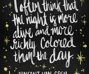 night, quote, and vincent van gogh image