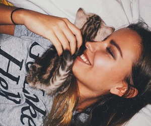 cool, girl, and cat image