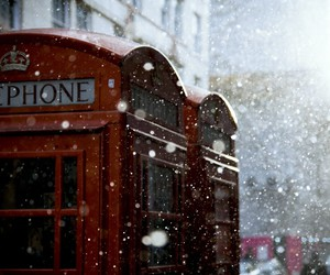 london, snow, and telephone image