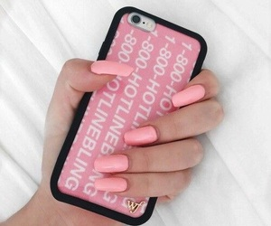 pink, nails, and iphone image