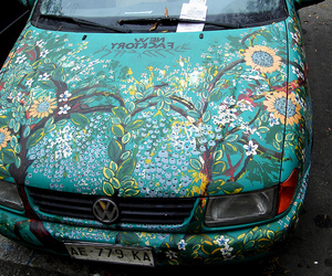 car, flowers, and art image
