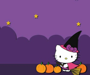 Halloween, hello kitty, and wallpaper image