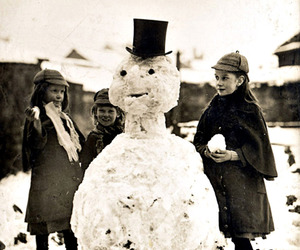 kids, snowman, and sepia image