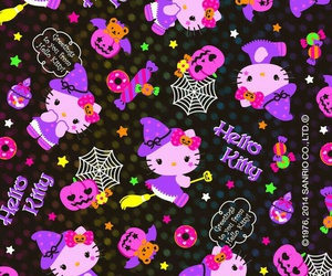 wallpaper, Halloween, and hello kitty image