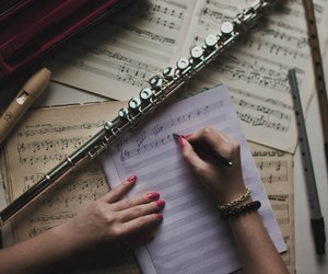 flute, music, and notes image