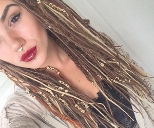 piercing, dreads, and girl image