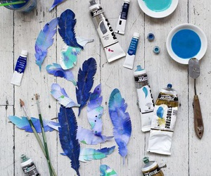 blue, art, and feather image