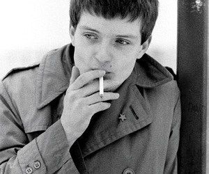 ian curtis, black and white, and joy division image