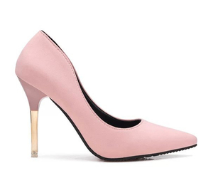 pink pumps, pink stiletto heels, and pink patent leather image