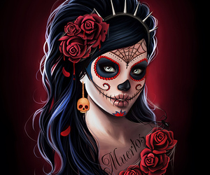 day of the dead, skull, and girl image