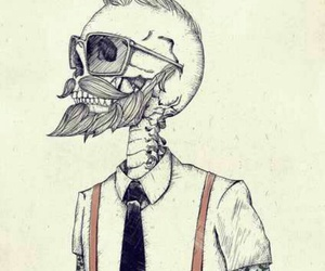 hipster, skull, and tattoo image