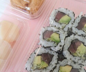 food, pink, and sushi image