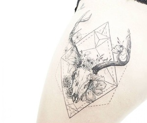 tattoo, deer, and flowers image