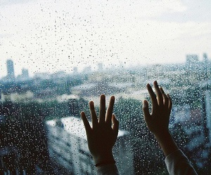 rain, hands, and city image