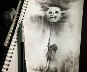 art, dark, and moon image