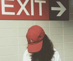 red, exit, and girl image