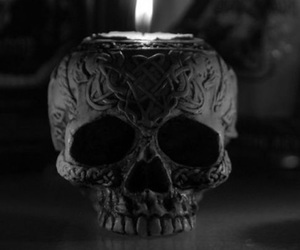 skull, black, and candle image