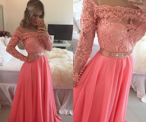 evening gowns, long sleeves prom dresses, and prom dresses beaded image