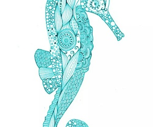 seahorse, blue, and art image