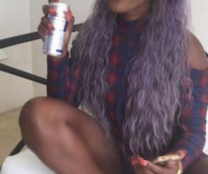 black, hair, and purple image